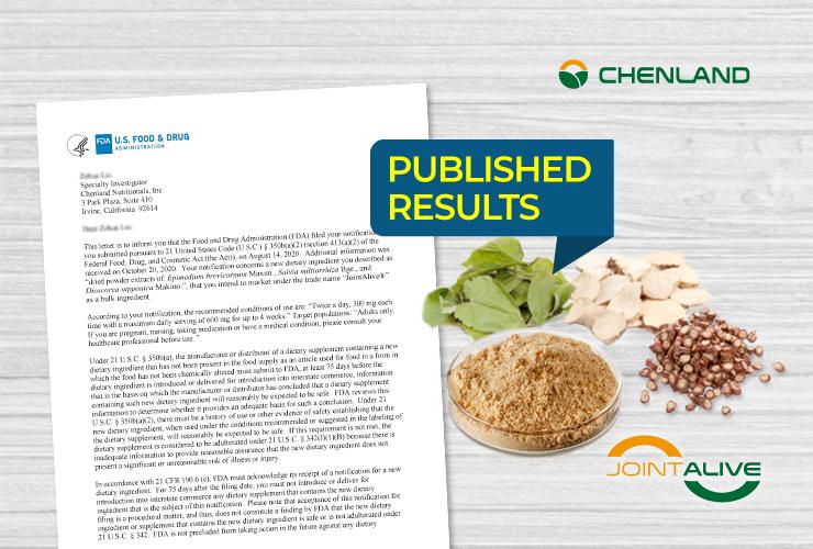 , JointAlive®: Successful NDI Notification for Innovative Botanical Formulation NDIN 1172, chenland, chenland